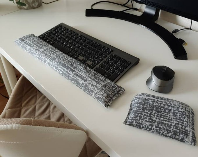 Grey Modern design stylish and  comfortable Keyboard and mouse computer wrist rest support- All Natural