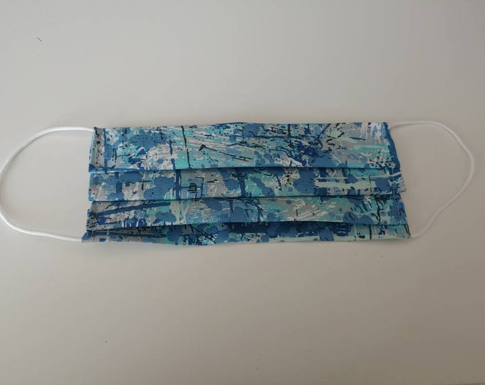 Light Blue Paint Splatter Face Mask 100% Premium Cotton with filter pocket on reverse side