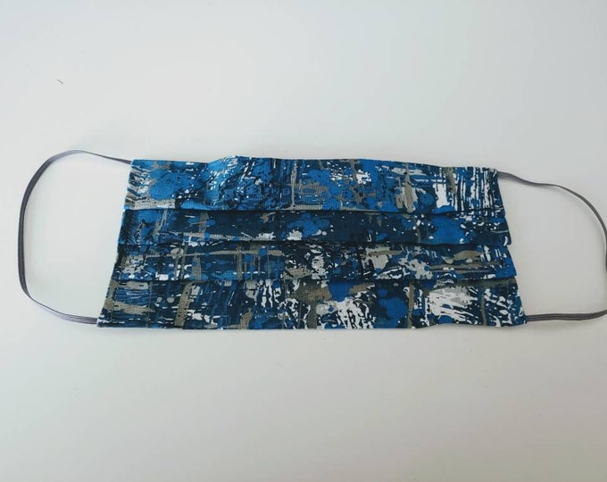 Blue and Grey paint splatter Face Mask 100% Premium Cotton with filter pocket on reverse side