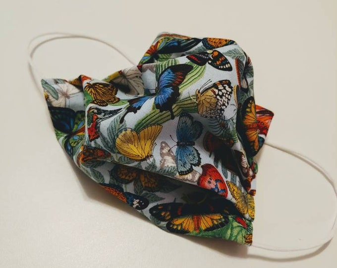 Beautiful Butterfly Stylish Face Mask 100% Premium Cotton with filter pocket on reverse side