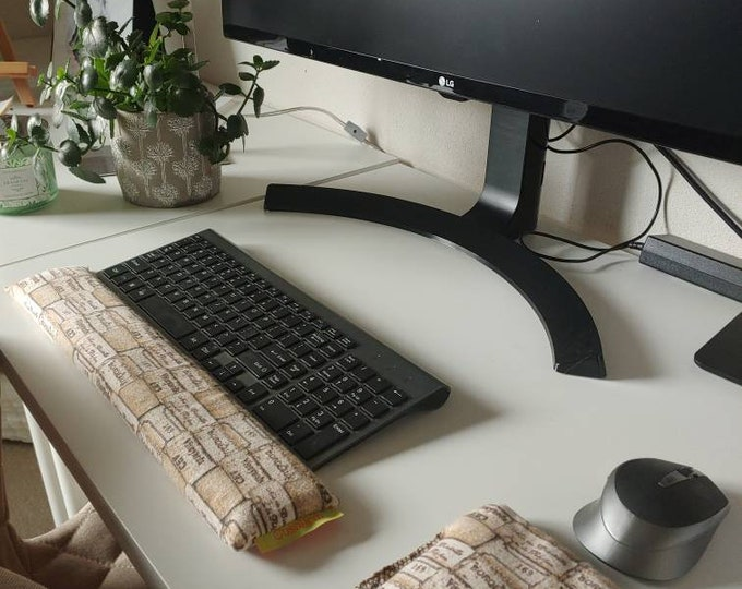 Flannel Champagne Cork stylish and  comfortable Keyboard and mouse computer wrist rest support