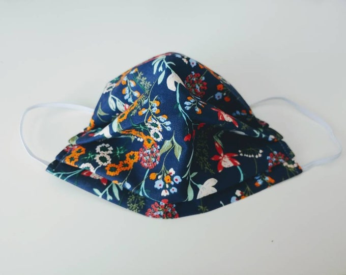 Blue Floral Face Mask 100% Premium Cotton with filter pocket on reverse side
