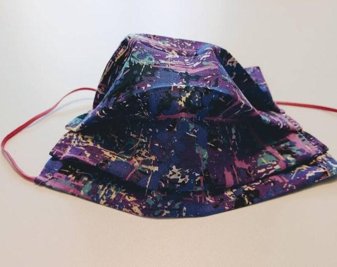 Purple Paint Splatter  Mask 100% Premium Cotton with filter pocket on reverse side