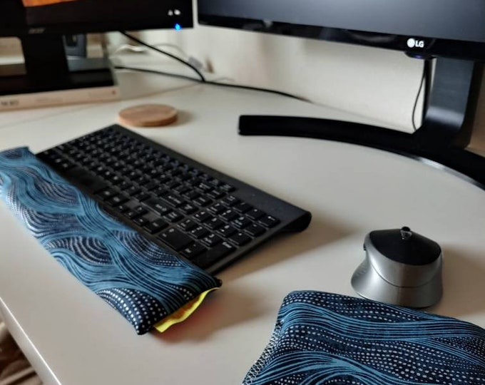 Blue Wave Modern stylish and  comfortable Keyboard and mouse computer wrist rest support- All Natural
