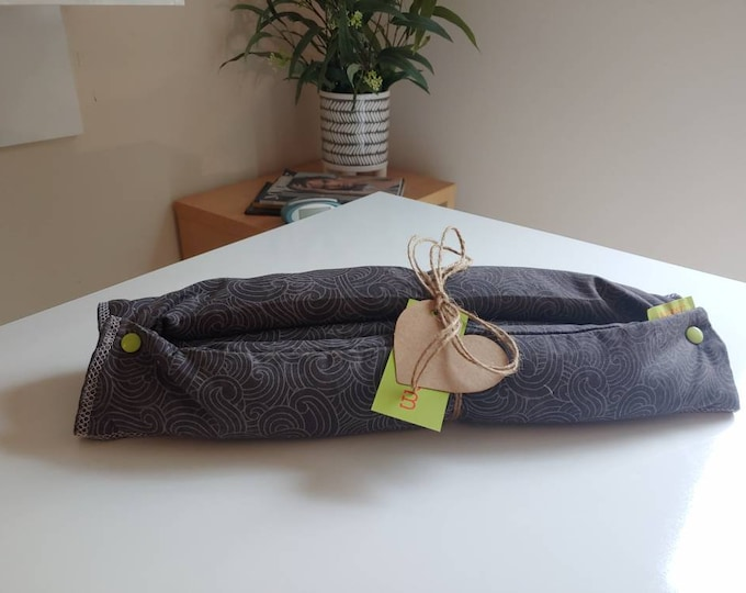 Mini Yoga Bolster- body wrap flaxseed filled heat or freeze 100% Cotton fabric - Snaps into a bolster. Perfect for on the go
