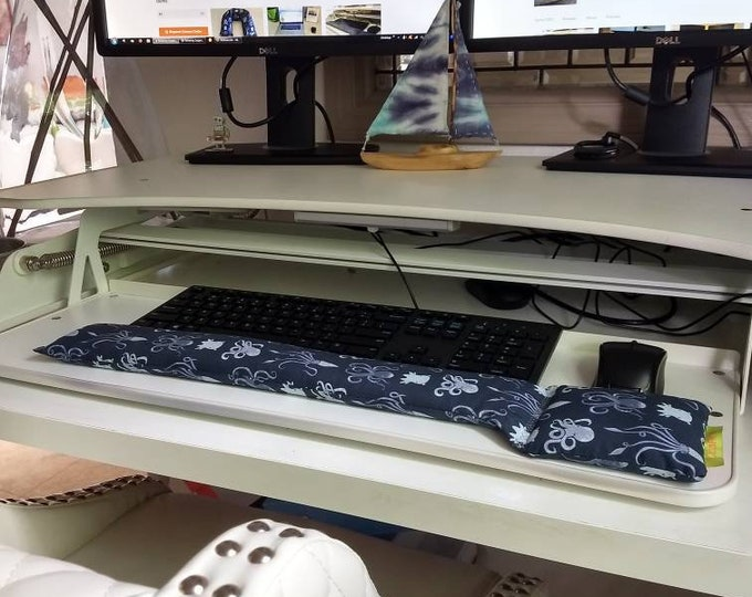 All Natural Octopus Squid Keyboard Wristrest Support, perfect for a stand up desk, Comfort and Support, Flaxseed filled