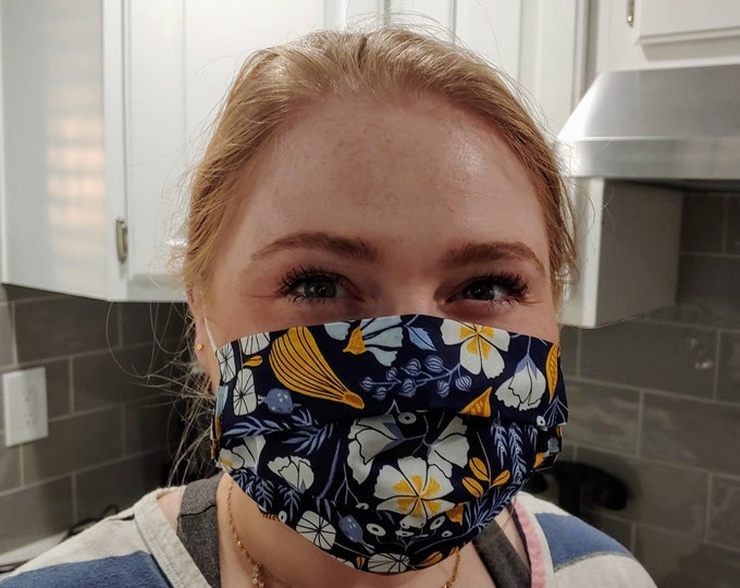 Beautiful Navy Blue and Mustard Yellow Floral Stylish Face Mask 100% Premium Cotton with filter pocket on reverse side