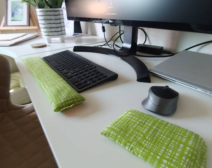 Lime Green geometric modern stylish and  comfortable Keyboard and mouse computer wrist rest support
