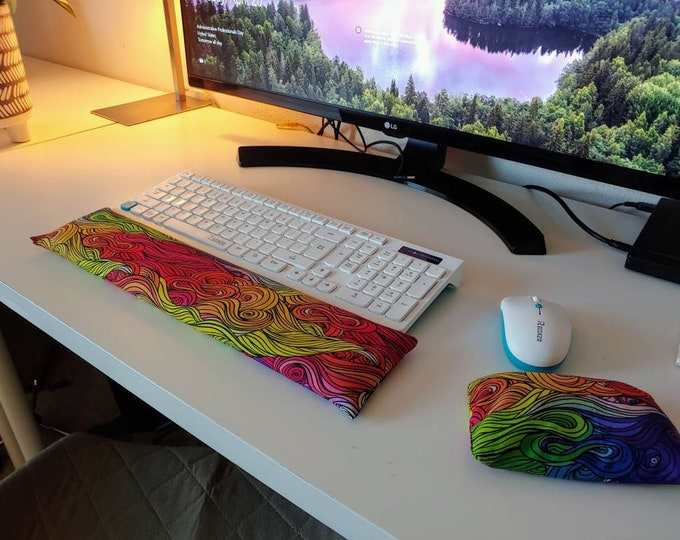 Rainbow Waves stylish and  comfortable Keyboard and mouse computer wrist rest support