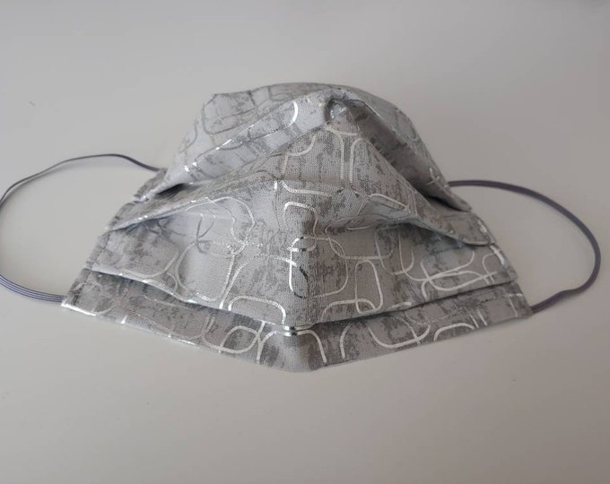Silver Geometric Design Face Mask 100% Premium Cotton with filter pocket on reverse side