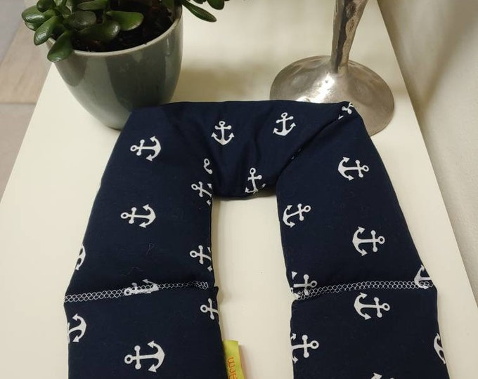 Navy Anchor Spa Relaxation Neck and Body Wrap,  Flaxseed Filled, Natural Heat Pad, Natural Cold Pack, Heat or Freeze