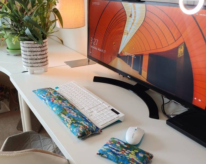 Monet Water Lilly Keyboard Wristrest Support, perfect for a stand up desk, Comfort and Support, Flaxseed filled