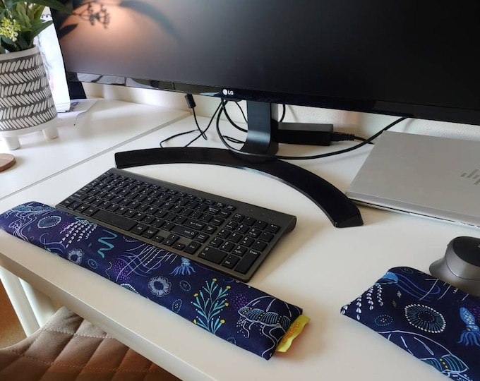 Deep Blue Ocean jellyfish  stylish and  comfortable Keyboard and mouse computer wrist rest support