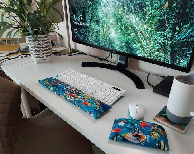 Tropical Vacation coral reef ocean fish Keyboard and mouse computer wrist rest support