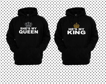 9742a5e8c08 He s My King She s My Queen Couple Hoodies