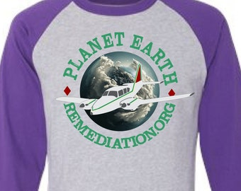Planet Remediation Raglan Tee Heather w Purple Sleeves