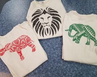 Natural Safari Tee Gift Set-Two Elephant Tees and One Lion Mane Tee Shirt