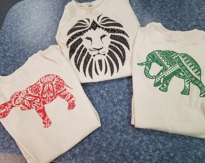 Natural Safari Tee Gift Set-Two Elephant Tees and One Lion Mane Tee Shirt