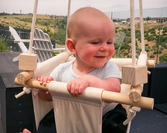 Handmade Baby Swing, hanging swing, Neutral toddler swing