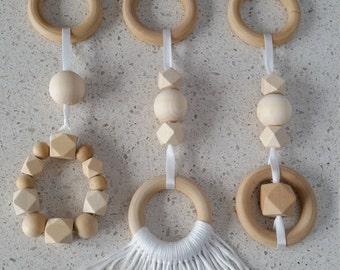 Handmade timber play gym hanging toy