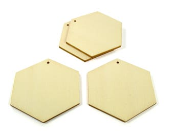 4 supports pendants polygons 65 mm - A wooden paint or decorate