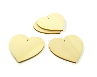Supports pendants hearts 4 50 mm - A wooden paint or decorate