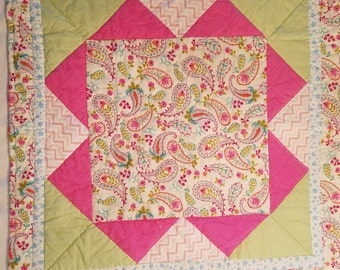 Pink Paisley Baby Quilt