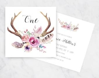 Boho Birthday Invitation | First Birthday | Printable Invitations
