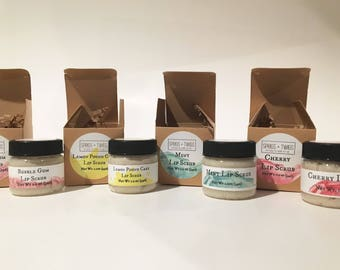 Organic lip scrub, sugar lip scrub, exfoliating lip scrub, choose you flavor