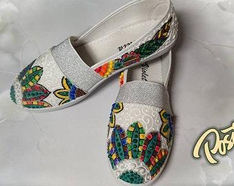 Handpainted,Sunflowers,flower vans.canvas,summer,Hand-Painted Custom Vans - Sunflowers,Floral