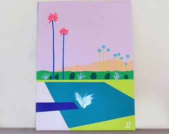 Splash ! Original Canvas Painting, Acrylic Painting, Pop Art, Palm Springs, Swimming Pool, Pastel Art, Canvas Art, Summer Art, Home Decor,