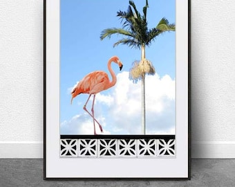 Walking on Air, DIGITAL DOWNLOAD, Printable Art, Flamingo Art, Poster, Luxe Art, Retro, Digital Art, Collage,Palm , Summer,Tropical, Art