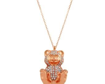 Chapado en oro rosa 925K Collar de plata esterlina Collar turco Collar de la joyería turca Oso