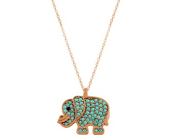 Collar de plata esterlina 925K enchapado en oro rosa Collar turco Collar de elefante en joyería turca