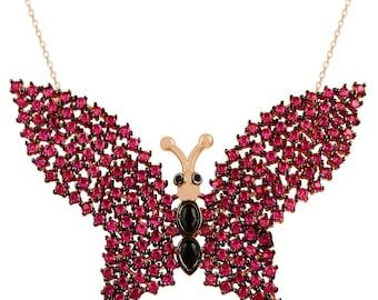 Chapado en oro rosa 925K Collar de plata esterlina Collar turco Collar de la joyería turca Mariposa