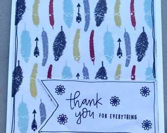 Thank You Feathers Blank Greeting Card