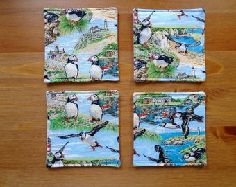 Set of four fabric coasters