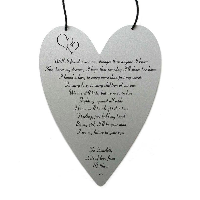 Ed Sheeran Perfect Lyrics personalised on metal heart shape wall hanging  with string wall art special valentines gift present