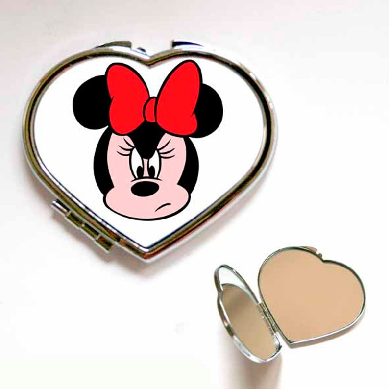 Cute Disney Minnie Mouse Angry Square Or Heart Shape Compact Mirror Handbag Accessories Make Up Gift Present