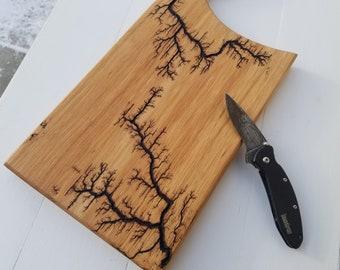 Cutting Board, Lichtenberg Charcuterie Board, Cheese Board, Meat Paddle Charcuterie Board, Wooden Tray, Fractal Burning, Serving Board