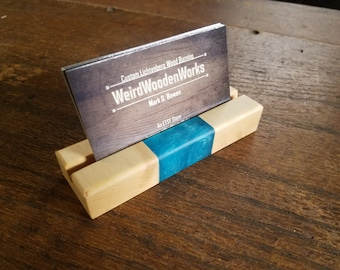Business Card Stand, Wooden/Epoxy Resin Picture Display Stand, Business Card Display, Eclectic Display Stand,Pamphlet Stand, Christmas Gift