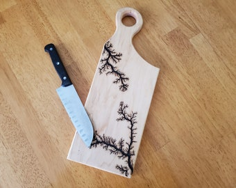 Maple Cutting Board With Handle, Lichtenberg Serving Board, Charcuterie Board, Handmade, Christmas Gift, Meat & Cheese Board, Wooden Platter