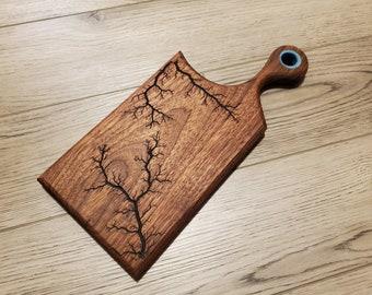 Walnut Cutting Board With Epoxy Resin Inlay, Walnut Lichtenberg Charcuterie Board, Cheese Board, Meat Paddle, Handmade Serving Platter