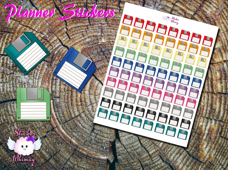 Floppy Disk Planner Stickers, Printed Stickers, Cute Stickers, Computer  Stickers, Erin Condren, Functional, Reminder, Old School Stickers