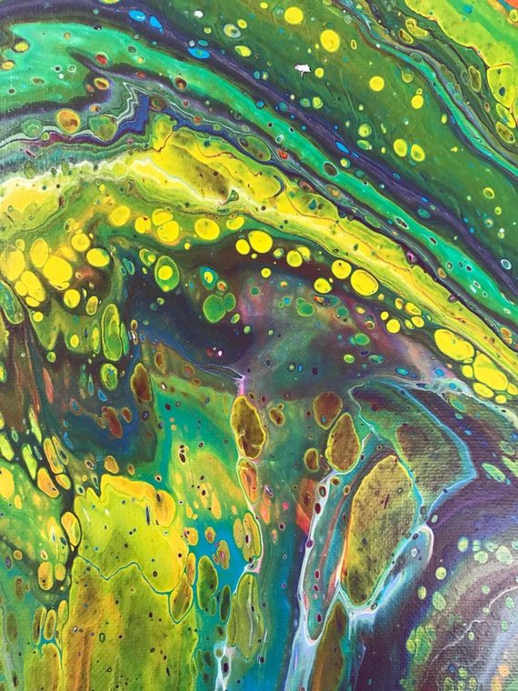 Abstract acrylic green orange purple paint pour on canvas painting