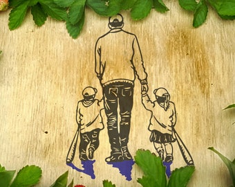 Father and baseball bat children daughter son love handdrawn walking SVG File dad of boy girl sweater original cricut scan n cut silhouette