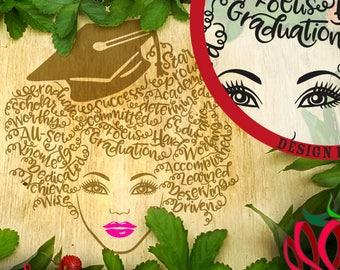 Graduation Word Art Hair dxf SVG File  Graduate natural hair black woman girl school typography curly font htv graduation