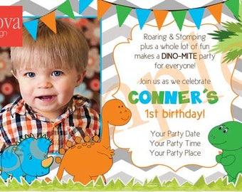 Baby Dino Birthday Invitation Set