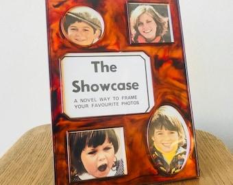 The Showcase Retro Photo Collage Frame - Acrylic Tortoise Shell / Marbled Design - Retro Photoframe 1970s