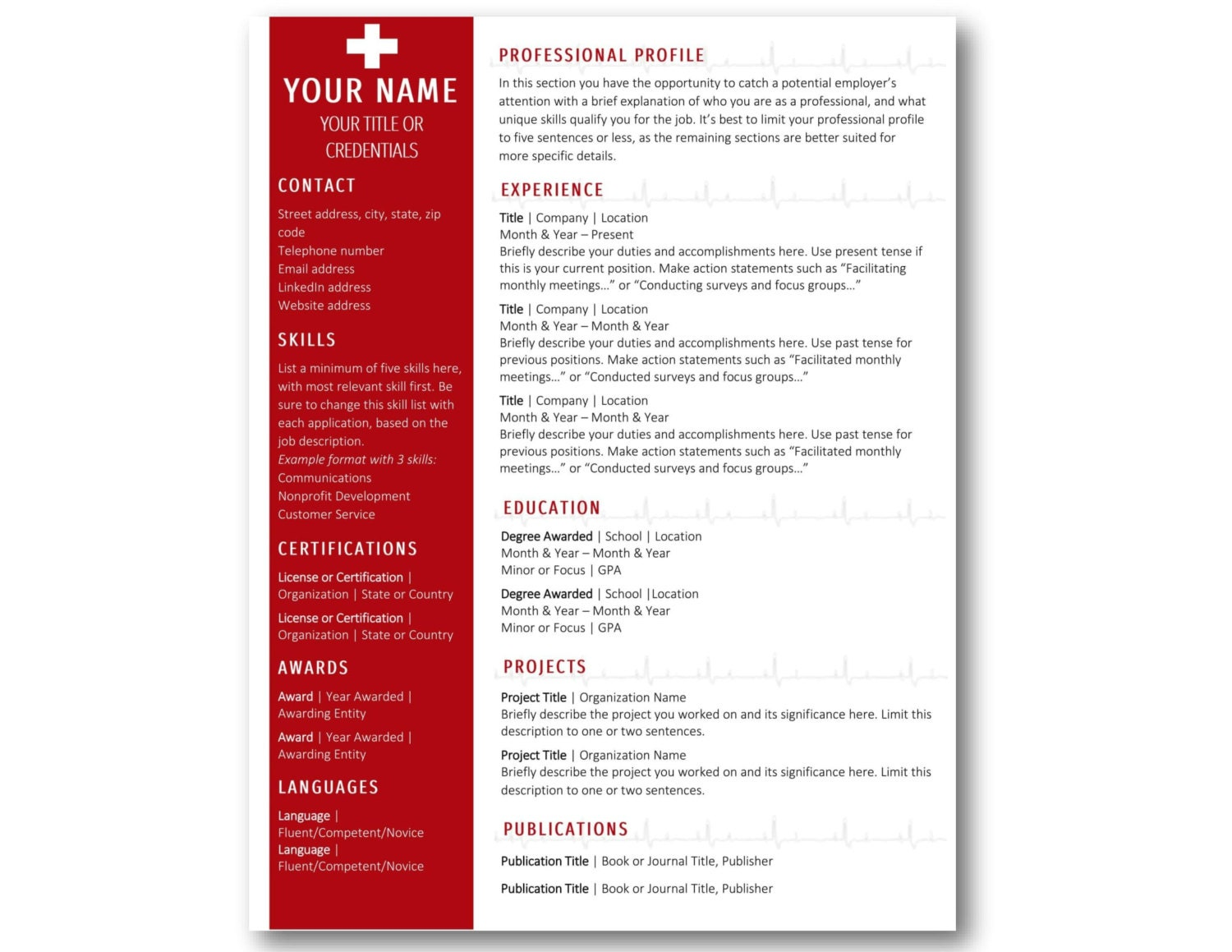 nurse resume template rn cv template instant download